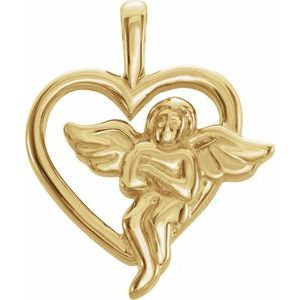 14K Yellow Angel Heart Pendant