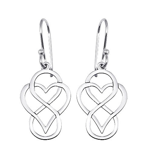 925 Rhodium Plated Dangling Flat Heart and Infinity Design Earrings