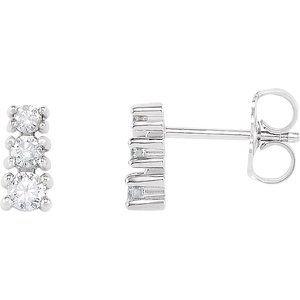 14K White 1/4 CTW Diamond Three-Stone Earrings