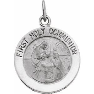 14K White 15 mm First Communion Medal