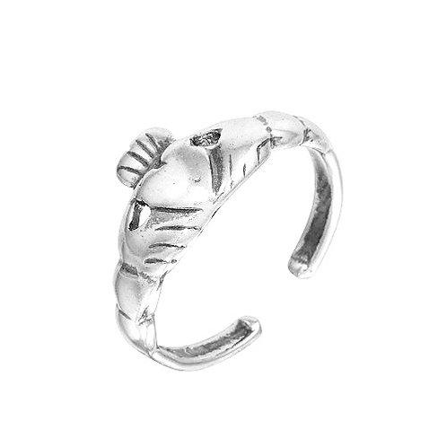 925 Oxidized Claddagh Design Toe Ring