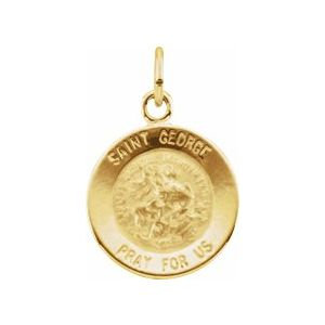 14K Yellow 12 mm Round St. George Medal
