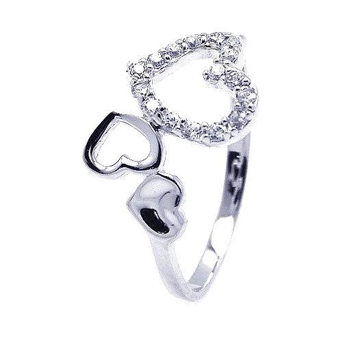 925 Rhodium Plated CZ Triple Heart Ring