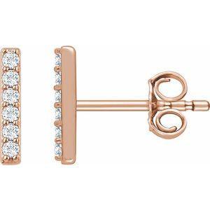 14K Rose 1/10 CTW Lab-Grown Diamond Bar Earrings