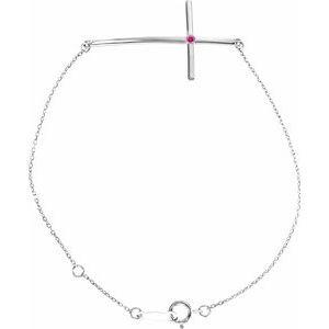14K White Pink Tourmaline Sideways Cross Bracelet