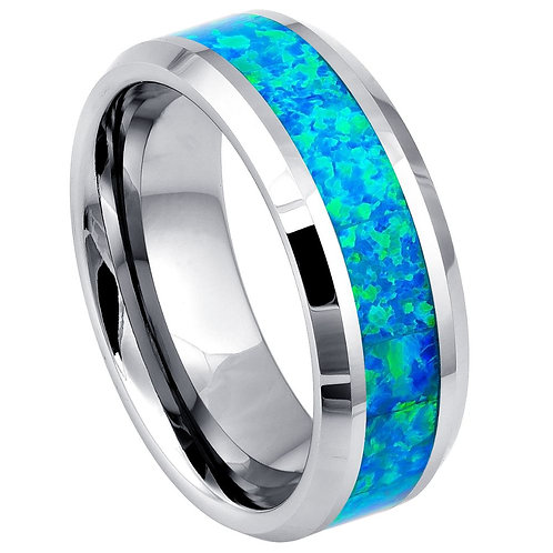 Synthetic Blue Green Opal Inlay Beveled Edge - 8mm