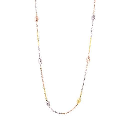 36 Inches Diamond Cut Oval Multi-Plated Italian Necklace
