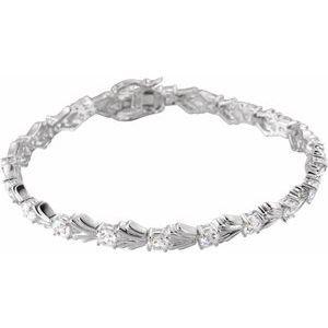 "Sterling Silver 4 mm Round Cubic Zirconia Line 7.5"" Bracelet"