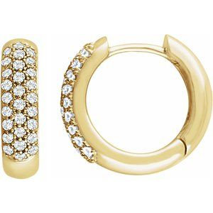 14K Yellow 1/3 CTW Diamond Pavé Hoop Earrings