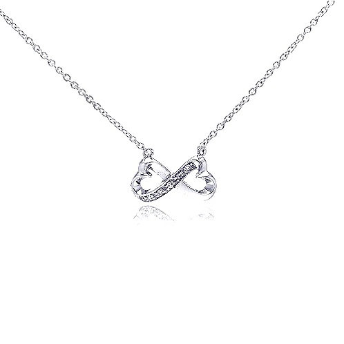 925 Clear CZ Rhodium Plated Infinity Pendant Necklace