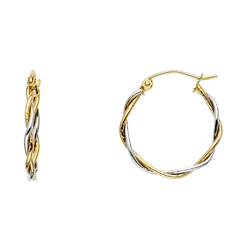 14K 2T 2LINE BRAIDED HOOP EAR (20MM)
