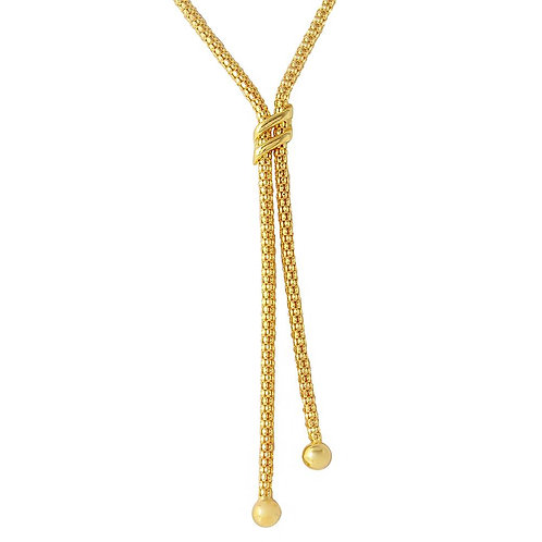 Double Sash Sterling Silver Gold Plated Drop Necklace