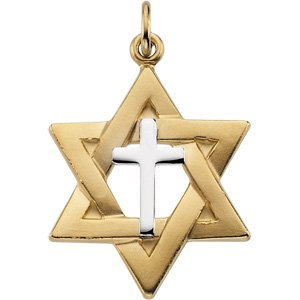 Yellow Gold Filled & Sterling Silver 22x19 mm Star of David Pendant with Cross