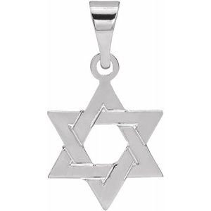 14K White 12x9 mm Star of David Pendant
