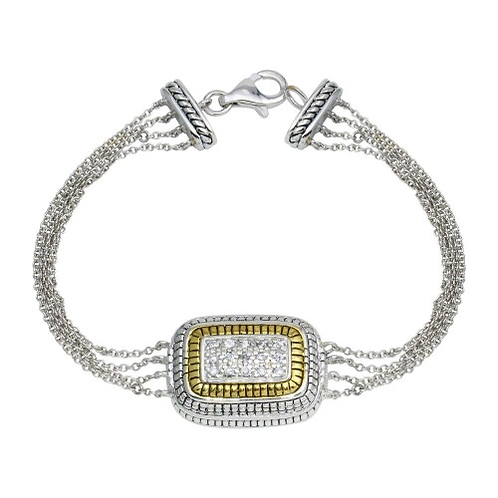925 2 Toned Gold And Rhodium Plated Square Rope CZ Chain Bracelet