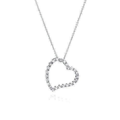 925 Clear CZ Rhodium Plated Heart Design Pendant Necklace