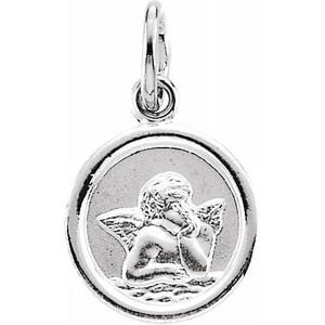 14K White 12 mm Round Cherub Angel Medal