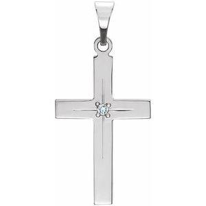 14K White Diamond Cross Pendant