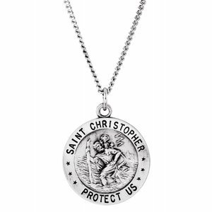 "Sterling Silver 18 mm St. Christopher U.S. Air Force Medal 18"" Necklace"
