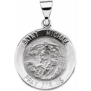 14K White 18x18 mm Round Hollow St. Michael Medal