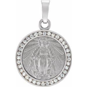 14K White Created White Sapphire Miraculous Medal