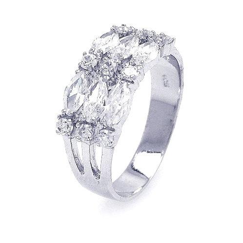 925 Rhodium Plated Round Marquise CZ 3 Row Ring