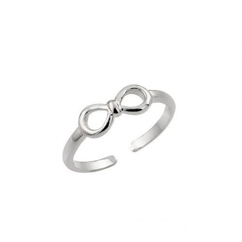 925 Rhodium Plated Mini Bow Toe Ring