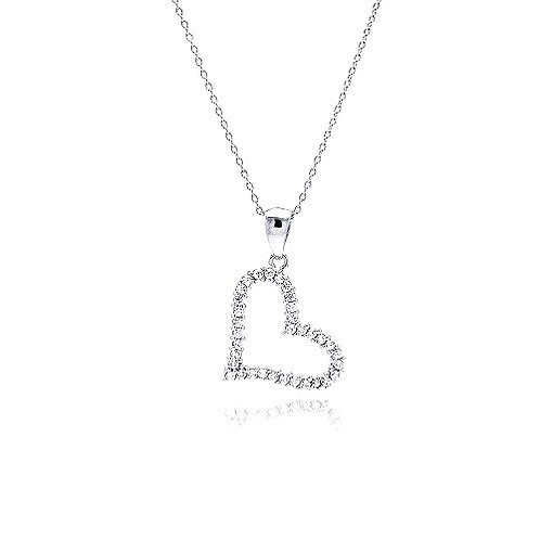 925 Clear CZ Rhodium Plated Solo Heart Pendant Necklace