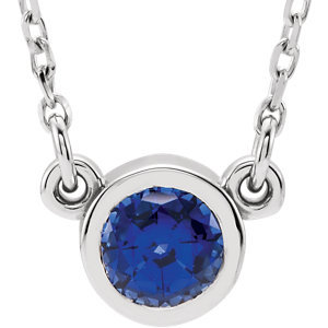 "14K White Blue Sapphire 16"" Necklace"