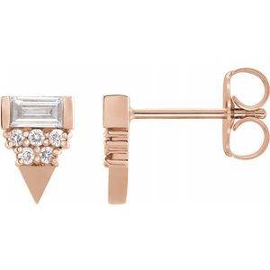14K Rose 1/4 CTW Diamond Geometric Earrings