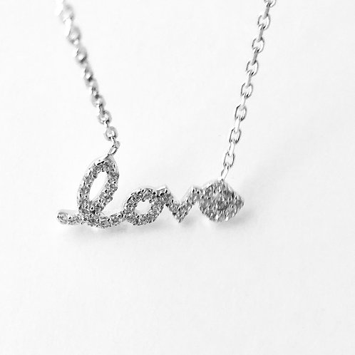 Love White Cubic Zirconia Stone Necklace in 14k White Gold