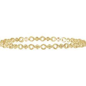 "14K Yellow 4.4 mm Geometric Bangle 7"" Bracelet"