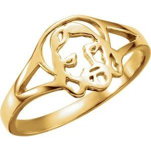 14K Yellow Face of Jesus Ladies Ring Size 8