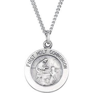 """Sterling Silver 18 mm First Communion Medal 18"""" Necklace"""