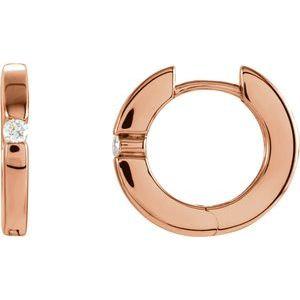 14K Rose .07 CTW Diamond Hoop Earrings