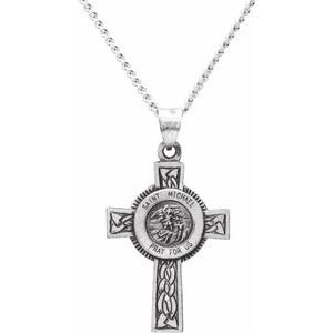 "Sterling Silver 28.5x20.8 mm St. Michael Cross Necklace with 24"" Chain"