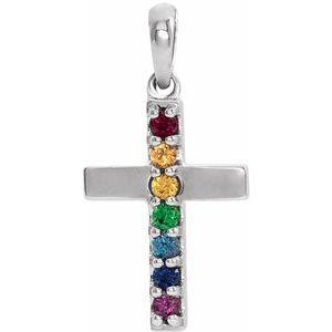 Sterling Silver Genuine Multi-Gemstone Cross Pendant