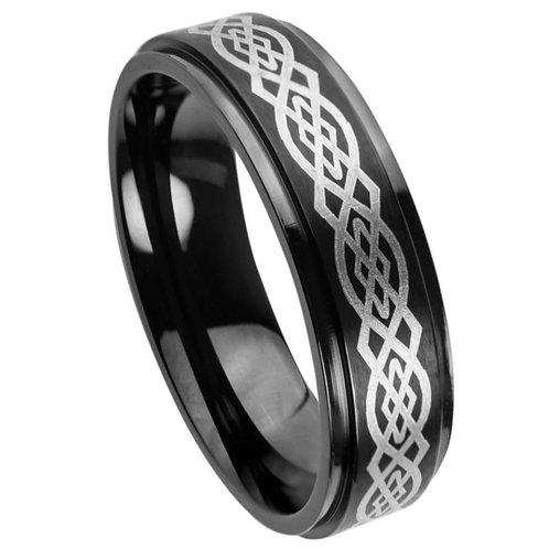 Black IP Plated High Polish Laser Engraved Celtic Knot Pattern - 7mm