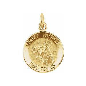 14K Yellow 12 mm Round St. Matthew Medal