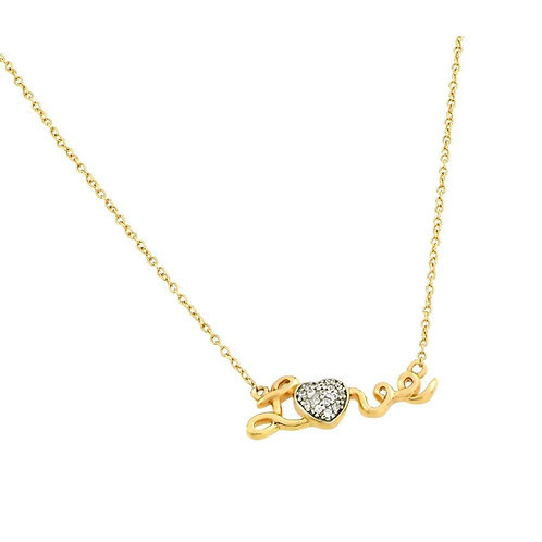 LOVE Cubic Zirconia Heart Sterling Silver Gold Plated Necklace.