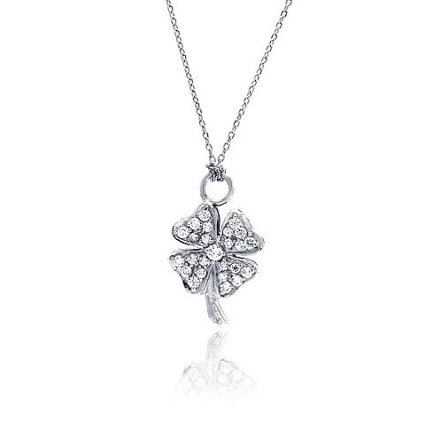 925 Clear CZ Rhodium Plated Clover Pendant Necklace