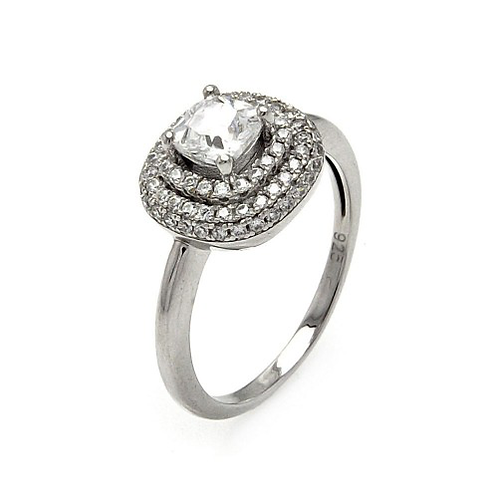 925 Rhodium Plated Micro Pave Clear Center CZ Multi Layer Square Ring