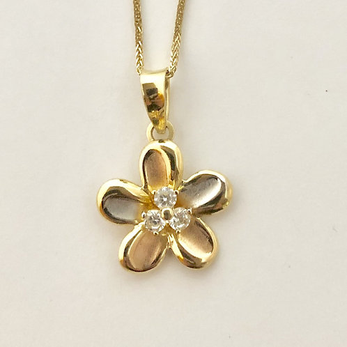 Flower Necklace in 14k Yellow Gold
