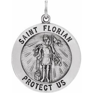 14K White 18 mm Round St. Florian Medal