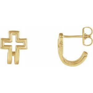 14K Yellow Open Cross J-Hoop Earrings