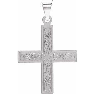 14K White 15.5x14 mm Greek Cross Pendant