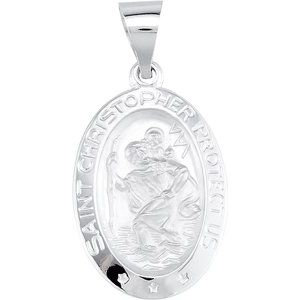 14K White 19x13.5 mm Oval Hollow St. Christopher Medal