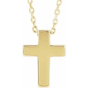 "14K Yellow Petite Cross 16-18"" Necklace"