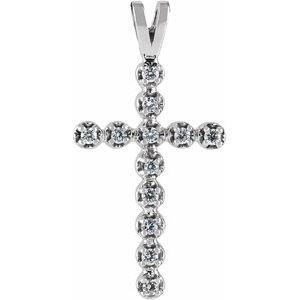 14K White .18 CTW Diamond Cross Pendant