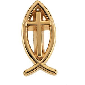 14K Yellow 17x8 mm Ichthus (Fish) with Cross Lapel Pin